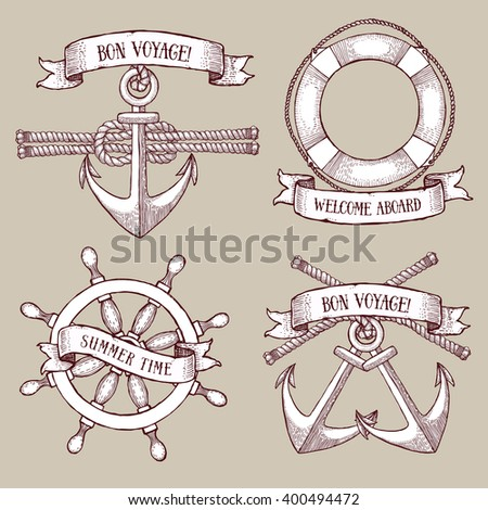 Engraved set of marine icons in vintage style, vector - stock vector