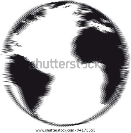 Engraved Vector earth in motion illustration - stock vector