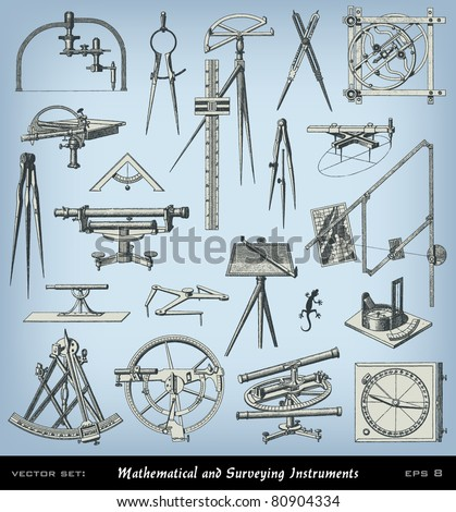 """Engraving mathematical and surveying instrument set from """"The Complete encyclopedia of illustrations"""" containing the illustrations of The iconographic encyclopedia of science and art, 1851. Vector. - stock vector"""