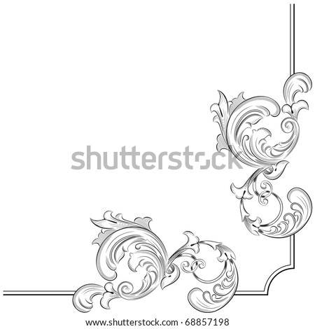 Engraving pattern for ideal page corner - stock vector