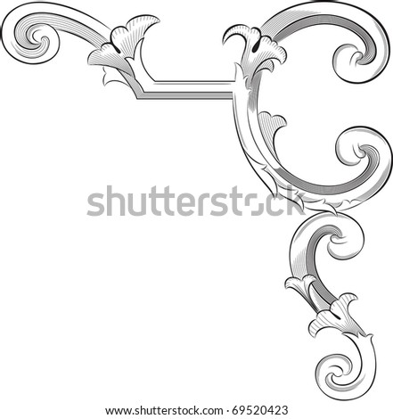 Engraving pattern of perfect page corner element - stock vector