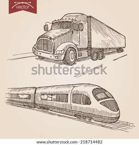 Engraving style pen pencil crosshatch hatching paper painting retro vintage vector lineart illustration transport set. Truck road and high speed railway express train. - stock vector
