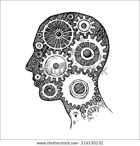 Engraving style pen pencil crosshatch hatching paper painting vector illustration lineart brainstorming idea concept. Head with gears. Engrave design big conceptual collection  - stock vector