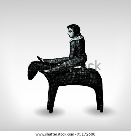"""Engraving vintage Acrobat with horse from """"The Complete encyclopedia of illustrations"""" containing the original illustrations of The iconographic encyclopedia of science, literature and art, 1851. - stock vector"""