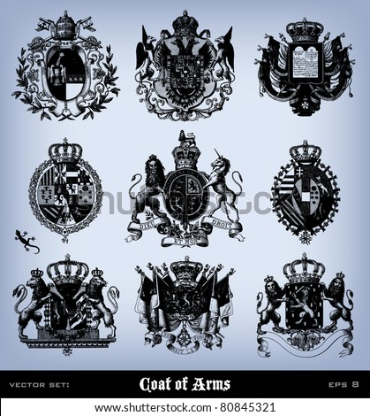 "Engraving vintage coat of arms set from ""The Complete encyclopedia of illustrations"" containing the illustrations of The iconographic encyclopedia of science, literature and art, 1851. Vector. - stock vector"