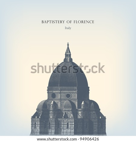 """Engraving vintage Florence dome from """"The Complete encyclopedia of illustrations"""" containing the illustrations of The iconographic encyclopedia of science, literature and art, 1851. - stock vector"""