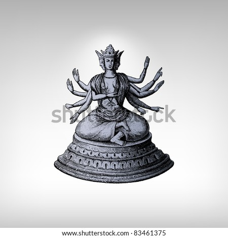 """Engraving vintage Shiva statue from """"The Complete encyclopedia of illustrations"""" containing the original illustrations of The iconographic encyclopedia of science, literature and art, 1851. Vector. - stock vector"""