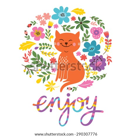 enjoy card design with cute cat - stock vector