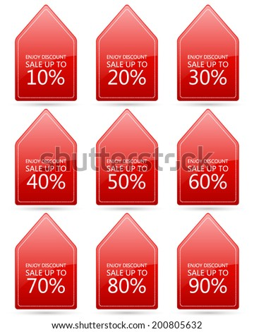 enjoy discount sale 10,20,30,40,50,60,70,80,90 percent on triangle red label set (vector)