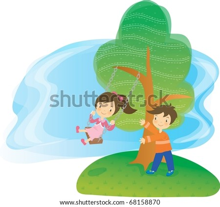 Enjoy Picnic and Happy Days background with blue sky and white cloud -  playing smiling and cheerful children with green field in natural park on spring vacation - stock vector