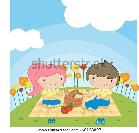 Enjoy Picnic and Happy Days background with blue sky and white cloud - playing smiling and lovely young children with food for lunch in green field on spring vacation - stock vector
