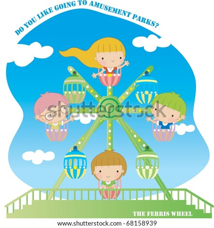 Enjoy Picnic and Happy Days - riding cute smiling young children background with blue sky and white clouds - stock vector