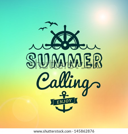 Enjoy Summer calling Sunrise hawaii vector text typography vintage poster isolated from background. - stock vector