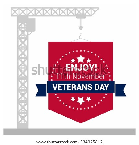 Enjoy 11th November Veterans Day Under Construction ribbon banner badge concept. United state of America, U.S.A veterans day design. Beautiful USA flag Composition. veterans Day poster design - stock vector