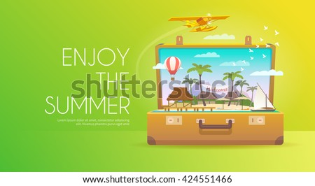 Enjoy the summer. Open suitcase with tropical island. Flat design. - stock vector
