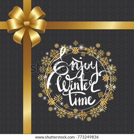 Enjoy winter time inscription written in frame made of golden and silver snowflakes and snowballs vector on dark grey with golden ribbon and bow