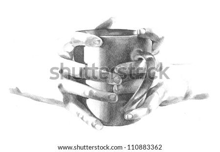 enjoying a relaxing cup of coffee vector illustration of hands holding a mug of coffee and waking up in the morning to it's strong aroma or sharing a friendly drink at a coffee shop or coffee house - stock vector
