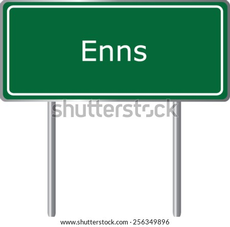 Enns, Austria, road sign green vector illustration, road table - stock vector