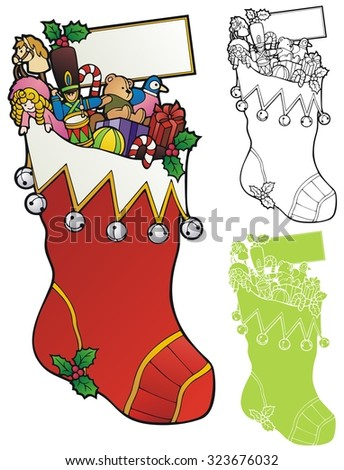 enormous stocking full of old fashioned toys, with a small copy space.  - stock vector
