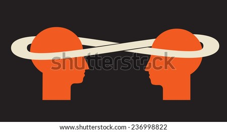 enriching idea exchange - 2 minds talk - stock vector