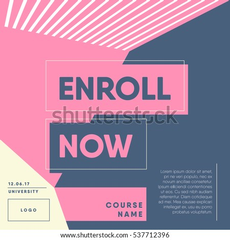 Enroll Now Open Registration Course Template Stock Vector ...