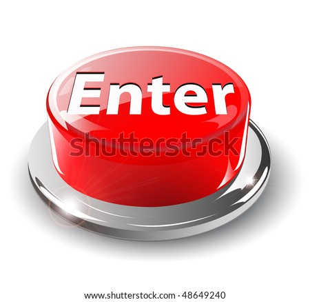 Enter button, 3d red glossy metallic, vector.