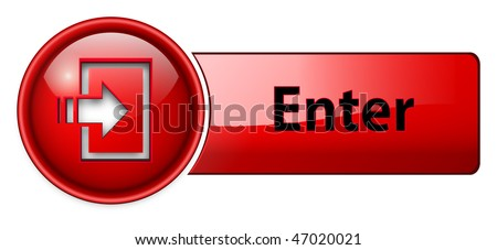 enter icon, button, red glossy. - stock vector