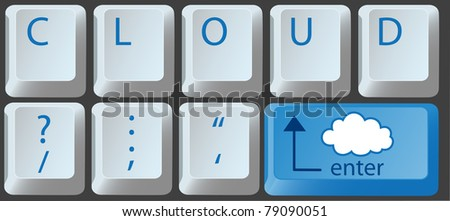 Enter the cloud with a cloud computing key on computer keyboard - stock vector