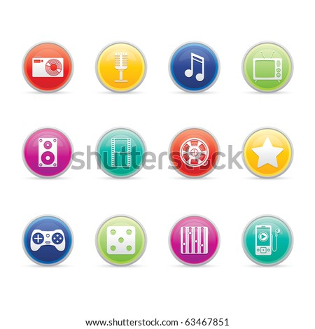 Entertainment and Multimedia icon set 7 - Colored Buttons Series.  Vector EPS 8 format, easy to edit. - stock vector