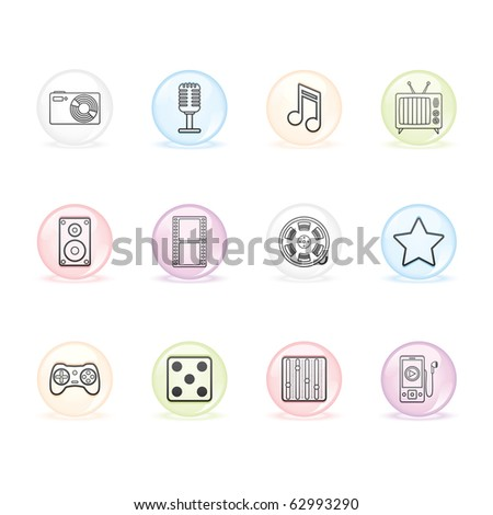 Entertainment and Multimedia icon set 7 - Sphere Series.  Vector EPS 8 format, easy to edit. - stock vector