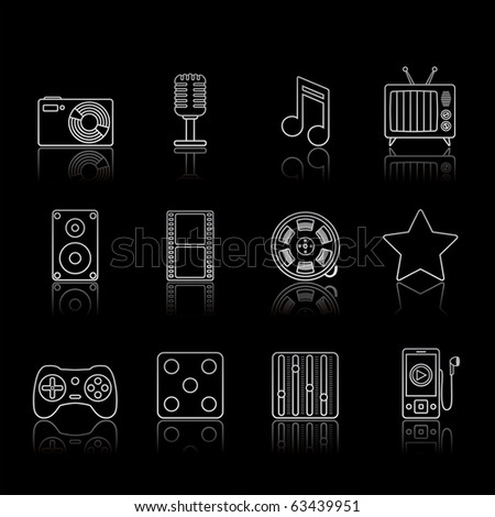 Entertainment and Multimedia icon set 7 - Strokes Black Series.  Vector EPS 8 format, easy to edit. - stock vector