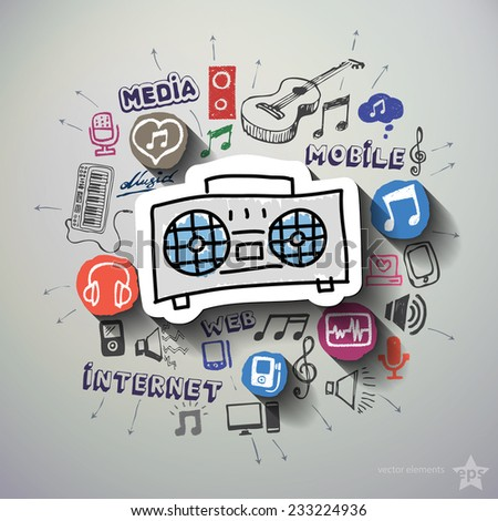 Entertainment and music collage with icons background. Vector illustration - stock vector