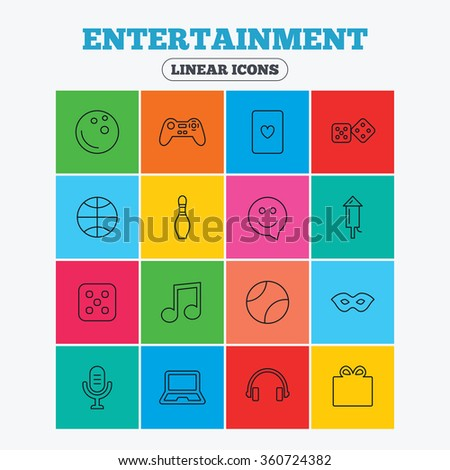 Entertainment icons. Game console joystick, notebook and microphone symbols. Poker playing card, dice and mask thin outline signs. Musical note and smile in speech bubble. Linear icons in squares. - stock vector