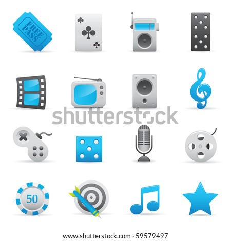 Entertainment Icons Set | Indigo Series 01 - stock vector