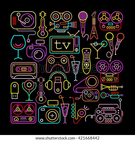 Entertainment icons  square shape vector illustration. Neon colors silhouettes on a black background. - stock vector