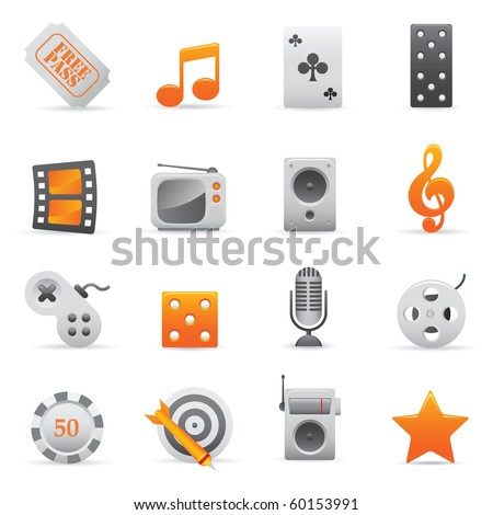 Entertainment Icons | Yellow03  Professional set for your website, application, or presentation - stock vector