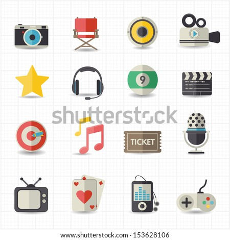 Entertainment movie icons - stock vector