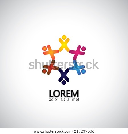 enthusiastic, excited children or kids playing - concept vector graphic. This illustration also represents concepts like teamwork, team spirit, cooperation, alliance, bonding, engagement, interaction - stock vector