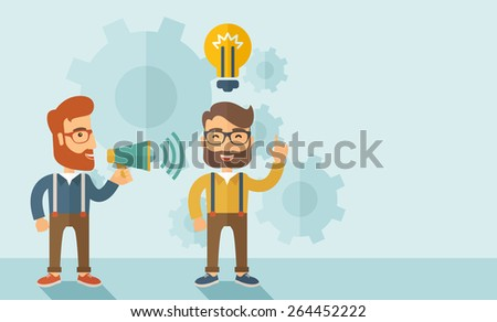Enthusiastic young hipster Caucasian men with beard who have a good business idea. Man on the left is holding a megaphone and  man on the right has a brilliant plan for their business .Delivering a - stock vector