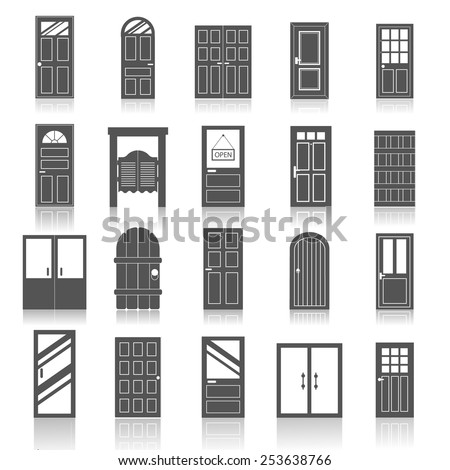 Entrance front doors to houses and buildings,  icons set isolated on white background, vector illustration.   - stock vector