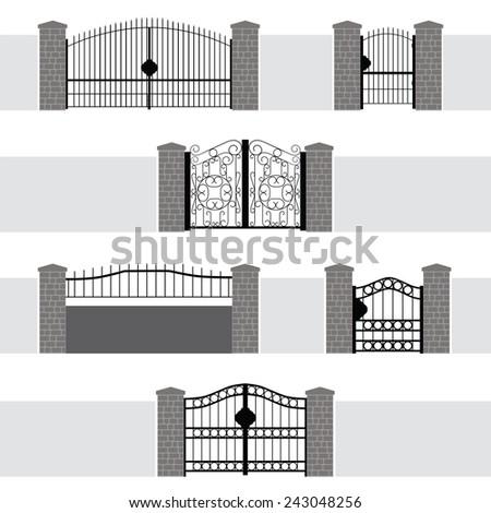 Entrance Gate Door Fence Garden - stock vector