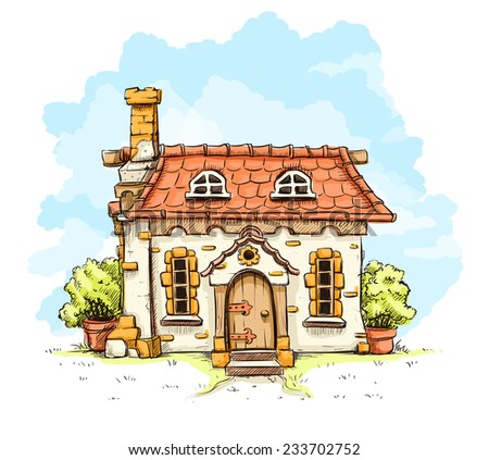 Entrance in old fairy-tale house with tiles roof. Eps10 vector illustration. Isolated on white background - stock vector