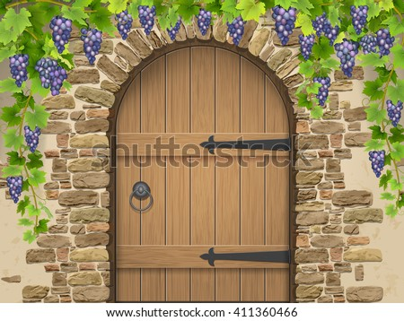 Entrance to the wine cellar decorated with bunches of grapes. Arch of stone wooden door and vine grapes. Vector Illustration about winemaking and viticulture, grape growing. - stock vector