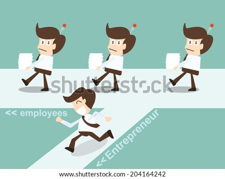 Entrepreneurial decision to choose path to business success - stock vector