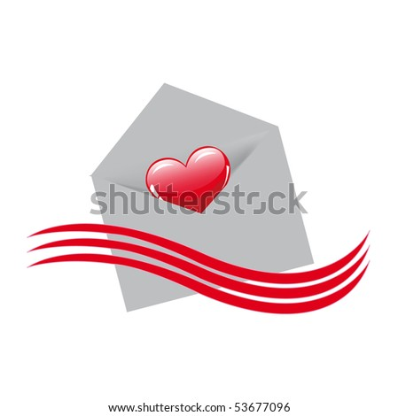 Envelope and heart - stock vector
