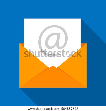 Envelope email icon. Vector illustration, flat design