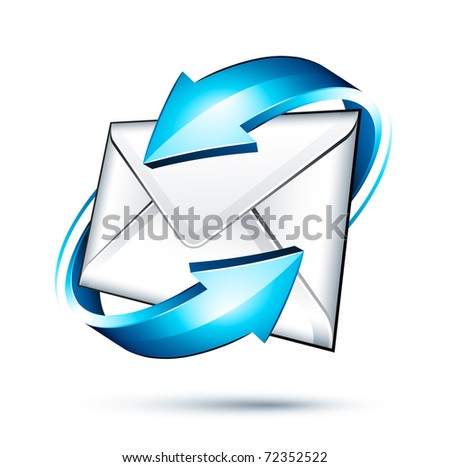 envelope icon and arrows - stock vector