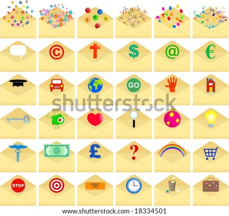 envelope icons - stock vector