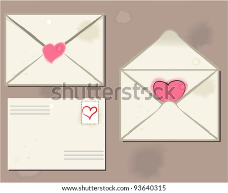 Envelope letter  heart  valentine's day, vector illustration - stock vector