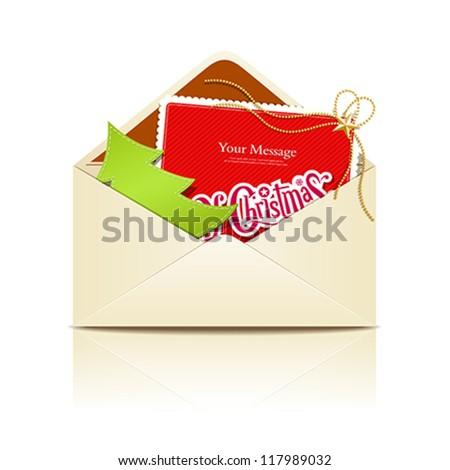 Envelope letter merry christmas, vector illustration - stock vector